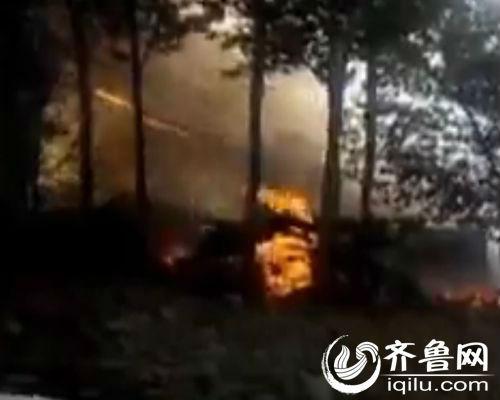 一名村商用手机记载了起火时震动的局面。(视频截图)