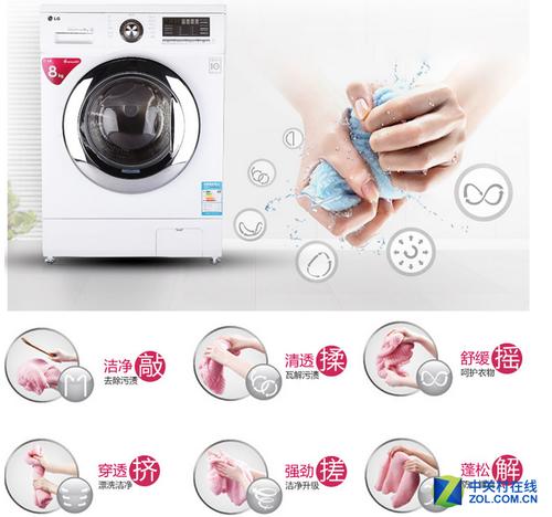 LG WD-A12411D洗衣机6种手洗模式