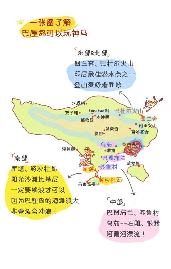 巴厘岛 手绘地图