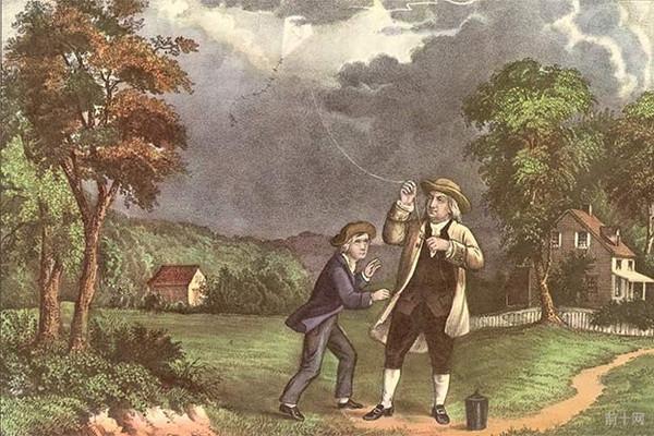 富兰克林(benjamin franklin)和他的儿子威廉(william)在雷雨天利用图片
