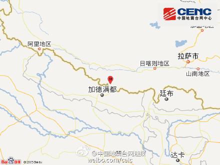 中新网6月17日电  据中国地震台网正式测定:6月17日10时15分在西躲自治区日喀则地区聂推木县(北纬28.4度,东经85.9度)发死3.4级地震,震源深度9千米。