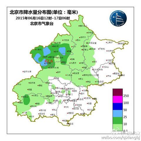 北京16日12时-17日06时降水量散布图