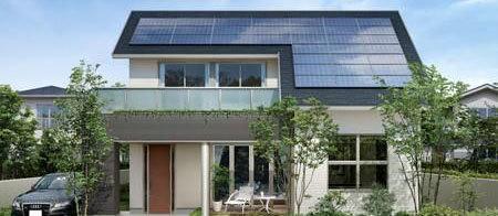 比如光伏屋顶,在屋顶上安装太阳能面板,并将屋顶太阳能转化的电量接入图片