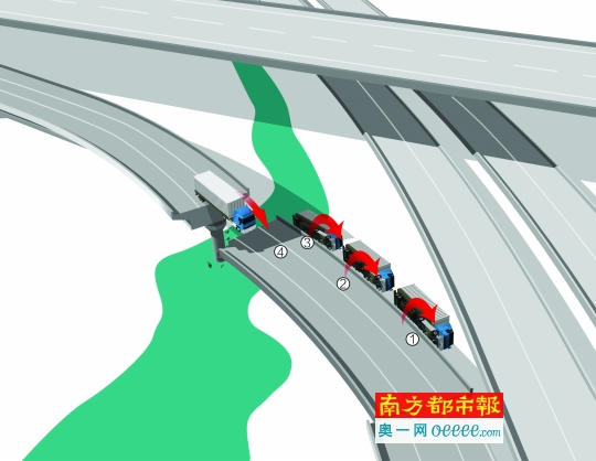 粤赣高速河源市境内匝道桥梁发生断裂并垮塌的示意图