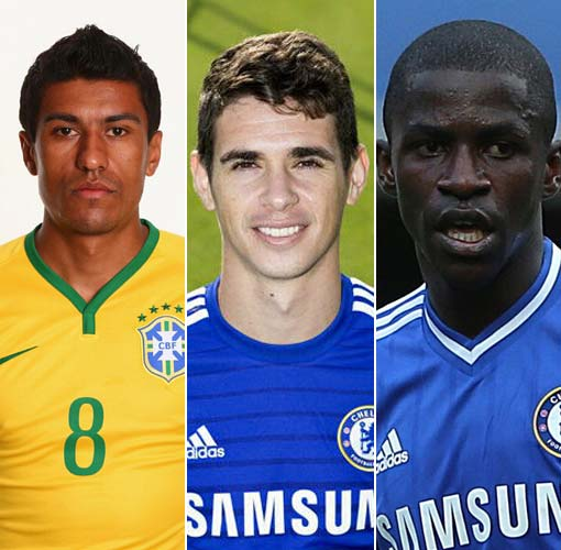 从左到右依次为保利尼奥、奥斯卡、拉米雷斯