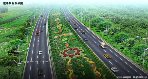 道路绿化带效果图
