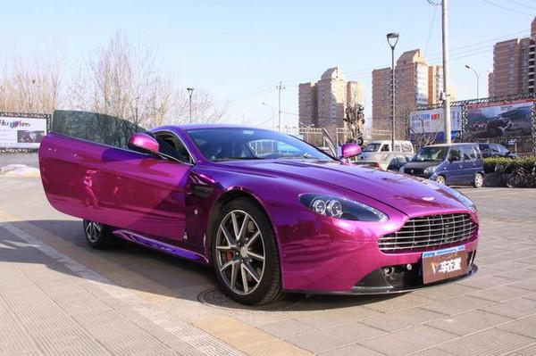 阿斯顿马丁全车电镀紫车身改色 高清图片