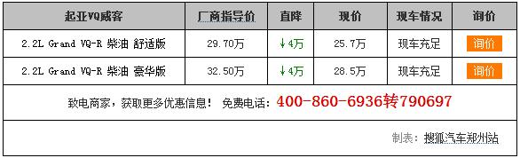 【郑州】起亚VQ威科购车优惠4万