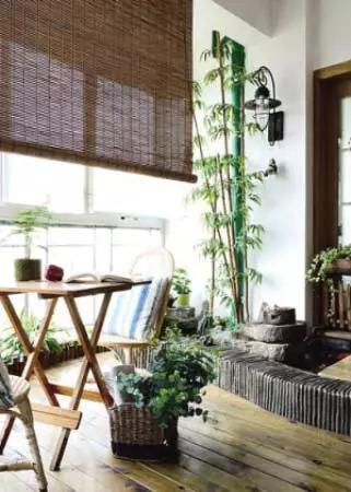 客厅阳台装修效果图:打造出一款林间的感觉,品位茶香.-阳台设计