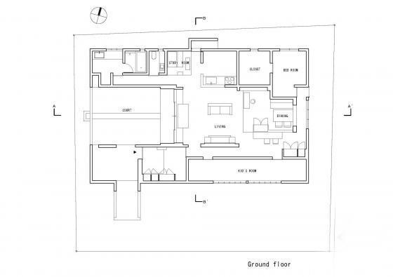 日本四合院别墅立面图