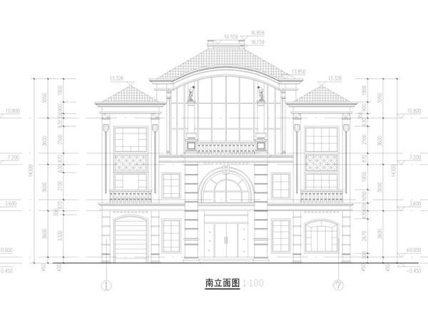 三层外观别墅效果图图纸cad2014什么天正用图片
