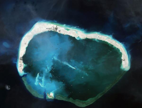 图为现在的美济礁卫星照片。