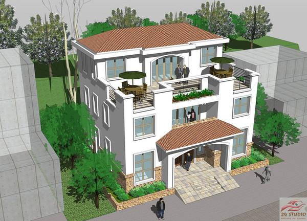 兄弟联排两层半欧式别墅设计效果图图片