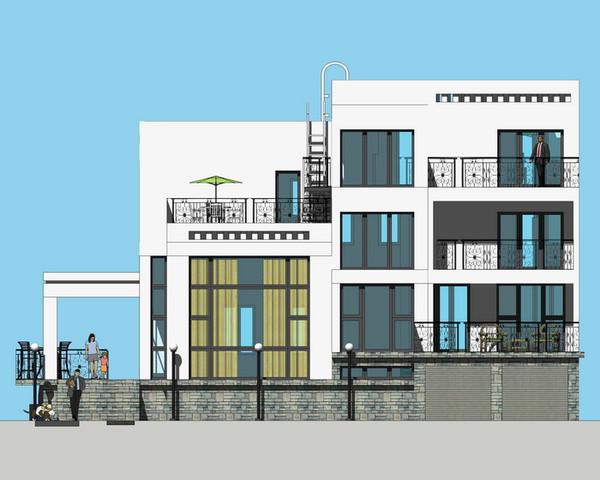 错层带地下室车库现代风格别墅设计效果图 西立面图片
