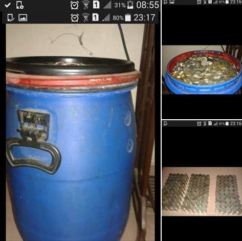 材料图像:马来西亚一位女子为戒烟稀奇招,把买烟的钱存进一个蓝色大桶中,5年后集腋成裘,省下6115令吉。(网页截图)