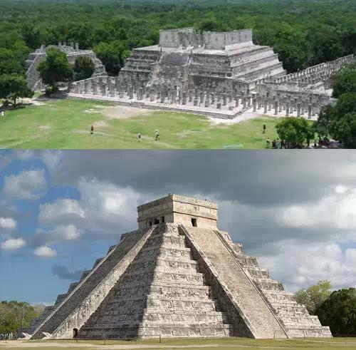 具托尔特克文化特色,有库库尔坎金字塔,勇士庙等,以朴素的线条装饰和