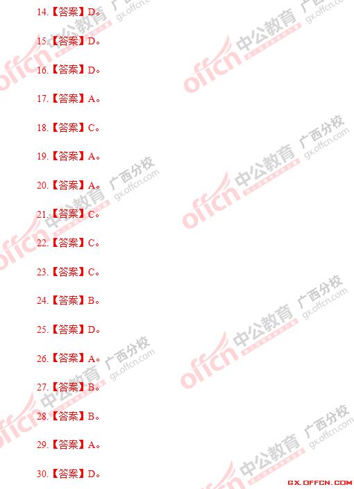 2015年广西柳州事业单位考试公基真题答案