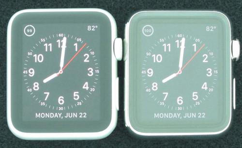 Watch运动版(图左)强光下显示效果更好(图片来自DisplayMate)