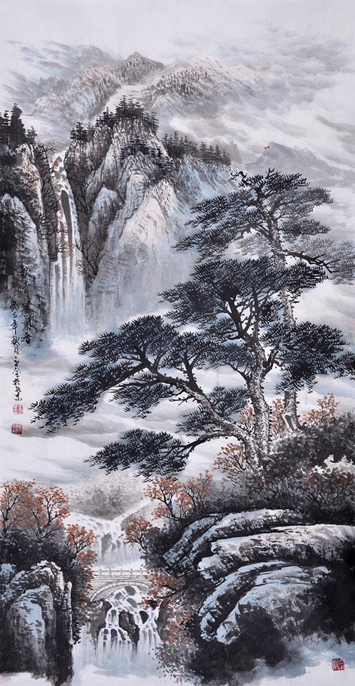 王立全四尺竖幅迎客松山水画《秋清泉飞香》作品来源:易从山水画图片