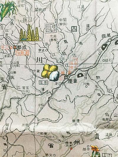 地图详细标注了中国各个省区矿产资源和物产