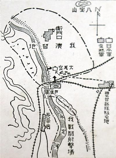 1937年7月事变发生时,日军绘制的卢沟桥地区形势地图。