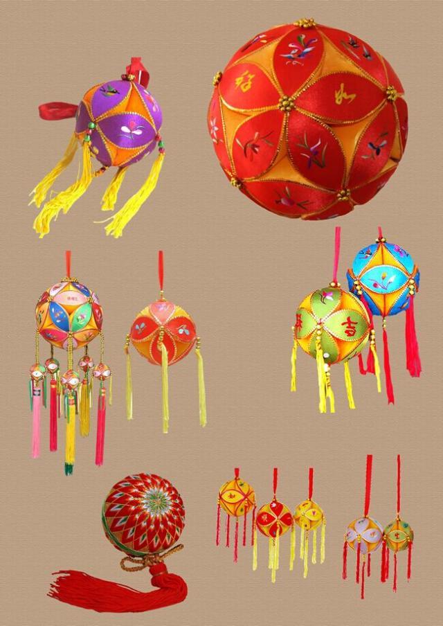 绣球本是南宁市壮族地区青年男女的定情信物,以彩绸制成,直径约6厘米图片