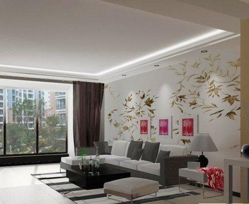 这款客厅沙发背景墙效果图中的设计,采用了手绘效果的风景画,加入几