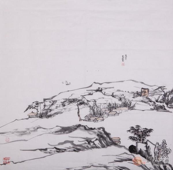 客厅走廊雅致装饰画就选斗方山水画图片