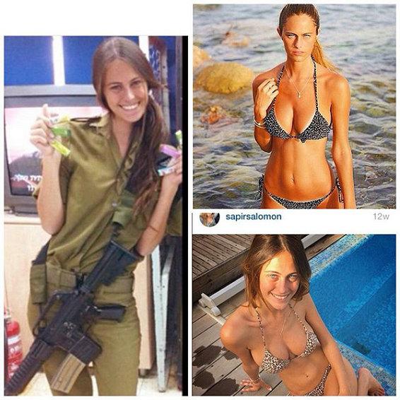 图为大量以色列女兵比基尼照放送。