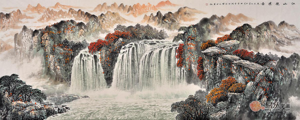 头 易天也八尺横幅国画山水《江山揽胜图》作品来源:易从山水画-图片