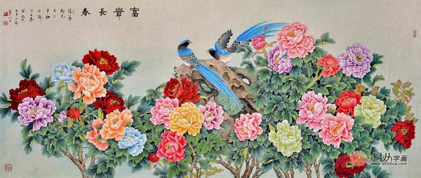 工笔画牡丹 易从花鸟画推荐王一容大师牡丹作品