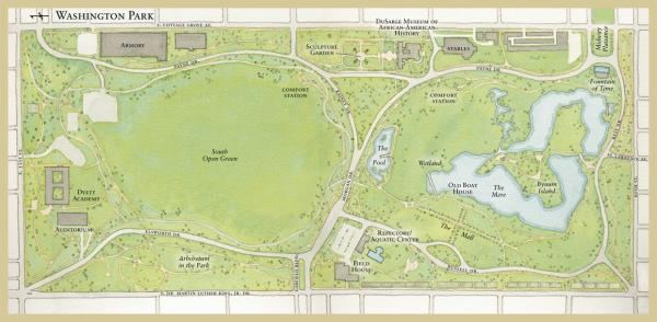 华盛顿公园的水彩画。图像来历:https://www.behance.net/gallery/1095465/Map-of-Washington-Park-for-the-Chicago-Park-District