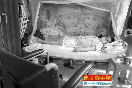 杨秀爱躺在病床上。