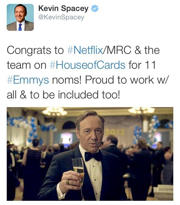 《纸牌屋》刚在艾美奖上得到11项提名,凯文-史派西即发推恭喜该剧的制作团队。