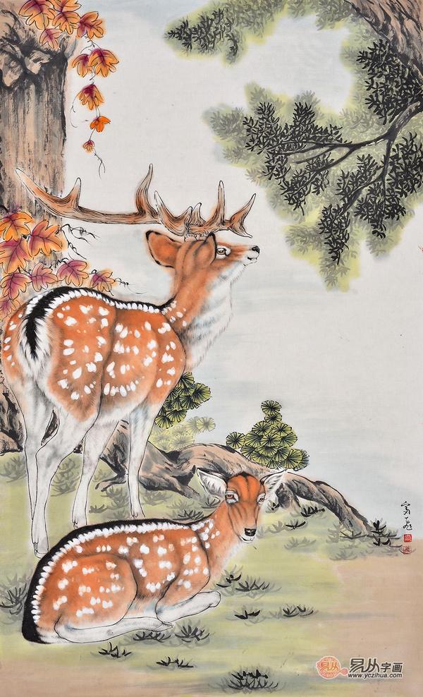 富飞三尺竖幅动物画作品梅花鹿《雌雄双鹿》         作品来源:易从