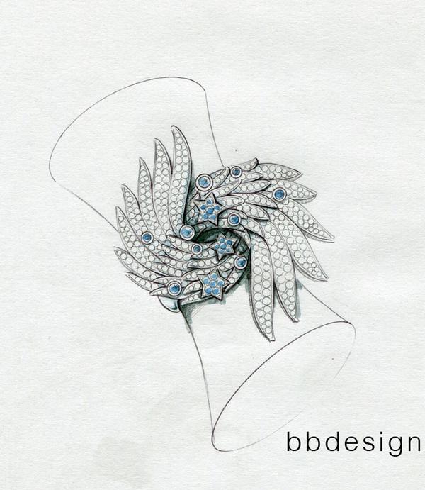 珠宝设计手绘稿戒指展示