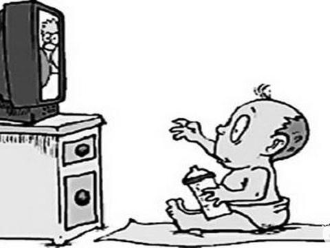 简笔画儿童看电视