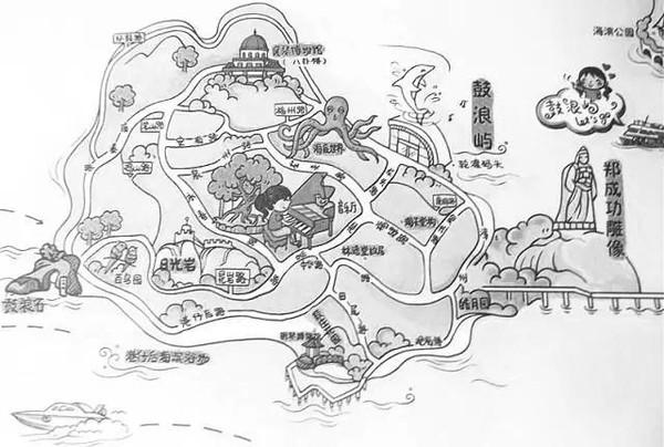 校园手绘地图简笔画
