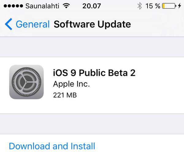 通过OTA升级 苹果发iOS 9第二个公测版(组图