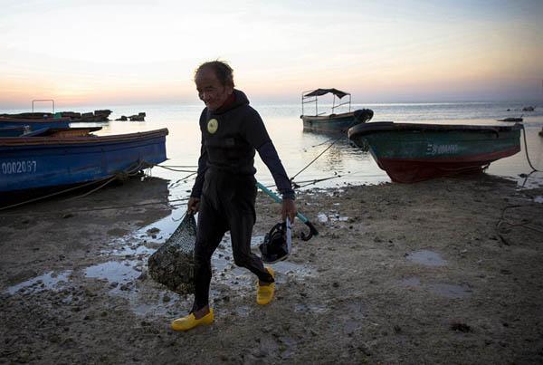 """2015年7月6日,三沙市赵述岛岸边,75岁的麦运潘老人""""行盘""""结束后,带着自己的工具小刀和带着呼吸管的水镜以及部分海螺上岸回家。"""