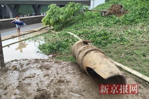 爆裂的旧管道。新京报见习记者 赵吉翔 摄