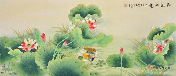 国画工笔荷花作品欣赏 易从字画推荐荷花鲤鱼图