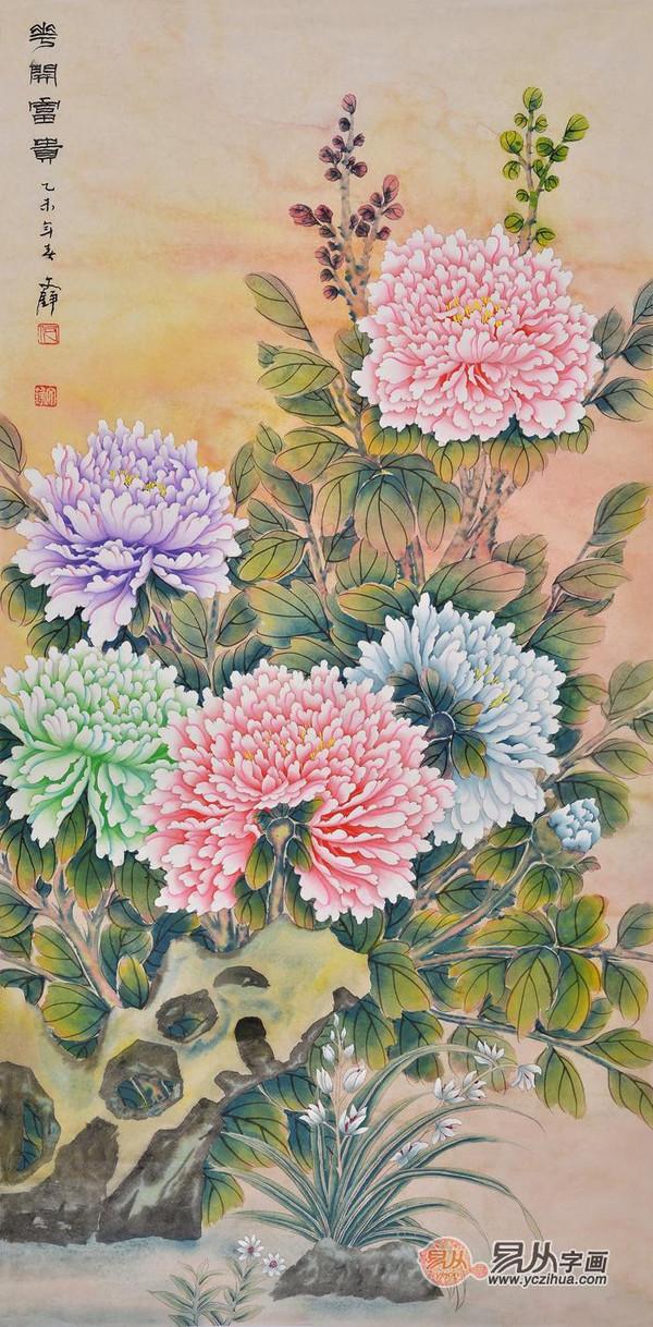 中国当代书画收藏 首推国画工笔牡丹画图片