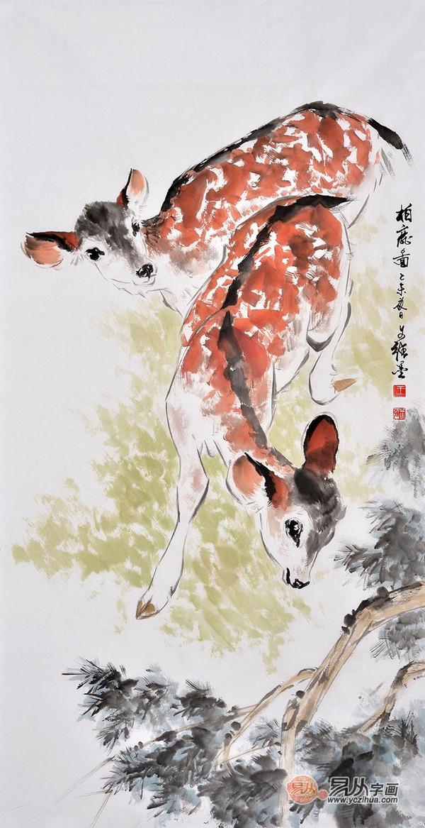 宾馆装饰画国画动物画推荐作品一: 鹿,其性温顺而角峥嵘,在我国传统