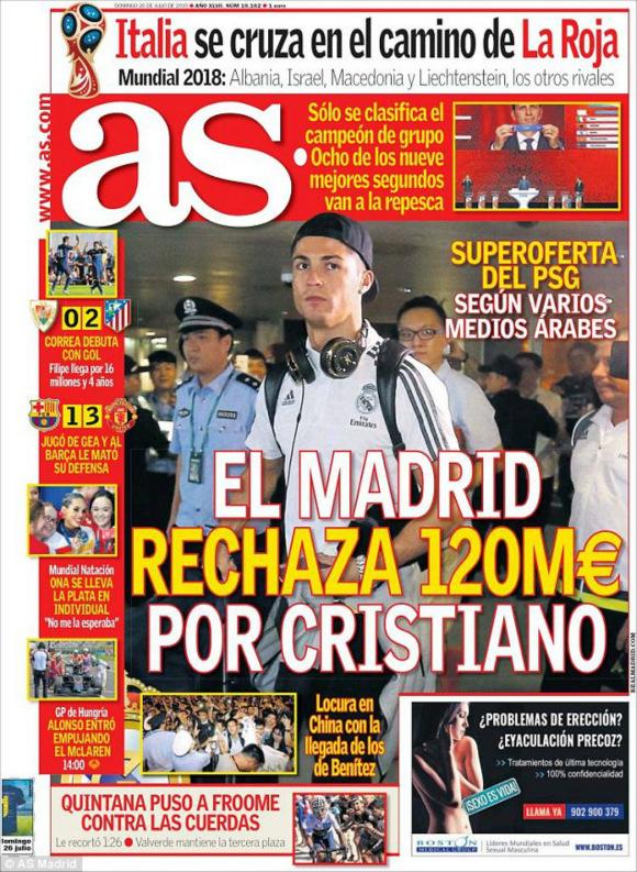 该报纸同样报道了2018年世界杯抽线仪式的分析,西班牙与意大利、阿