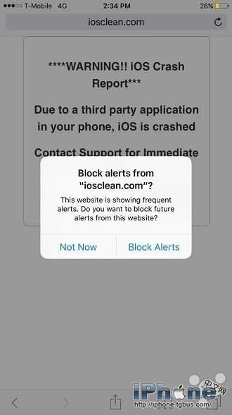 """据芬兰安全机构F-Secure称,为了降低这一安全隐患,苹果为iOS 9的Safari浏览器添加了阻止弹窗功能。这项功能指的是一旦Safari检测到网站重复出现弹窗提示,便会提示是否禁止该网站的提醒,如图所示点击""""Block Alerts""""即可禁止网站继续弹窗。"""