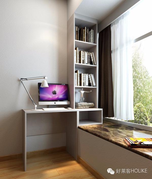 主卧设计一款飘窗,与书桌相结合,飘窗内嵌入书柜,坐在书桌前看书或图片