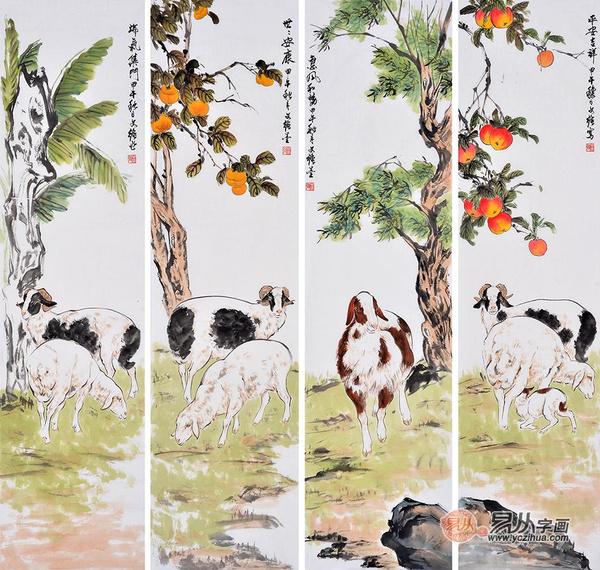 王文强动物画四条屏吉祥如意《喜气洋洋》作品来源:易从字画
