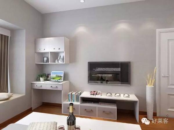 简易的书桌柜与简易的电视柜相连组合图片