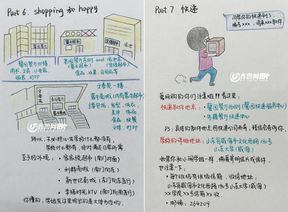 """山大研究生学姐手绘漫画版入学指南迎新生 被赞""""好贴心""""(组图)"""